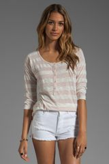 Splendid White Stripe Rugby Henley Top in Sand - Lyst