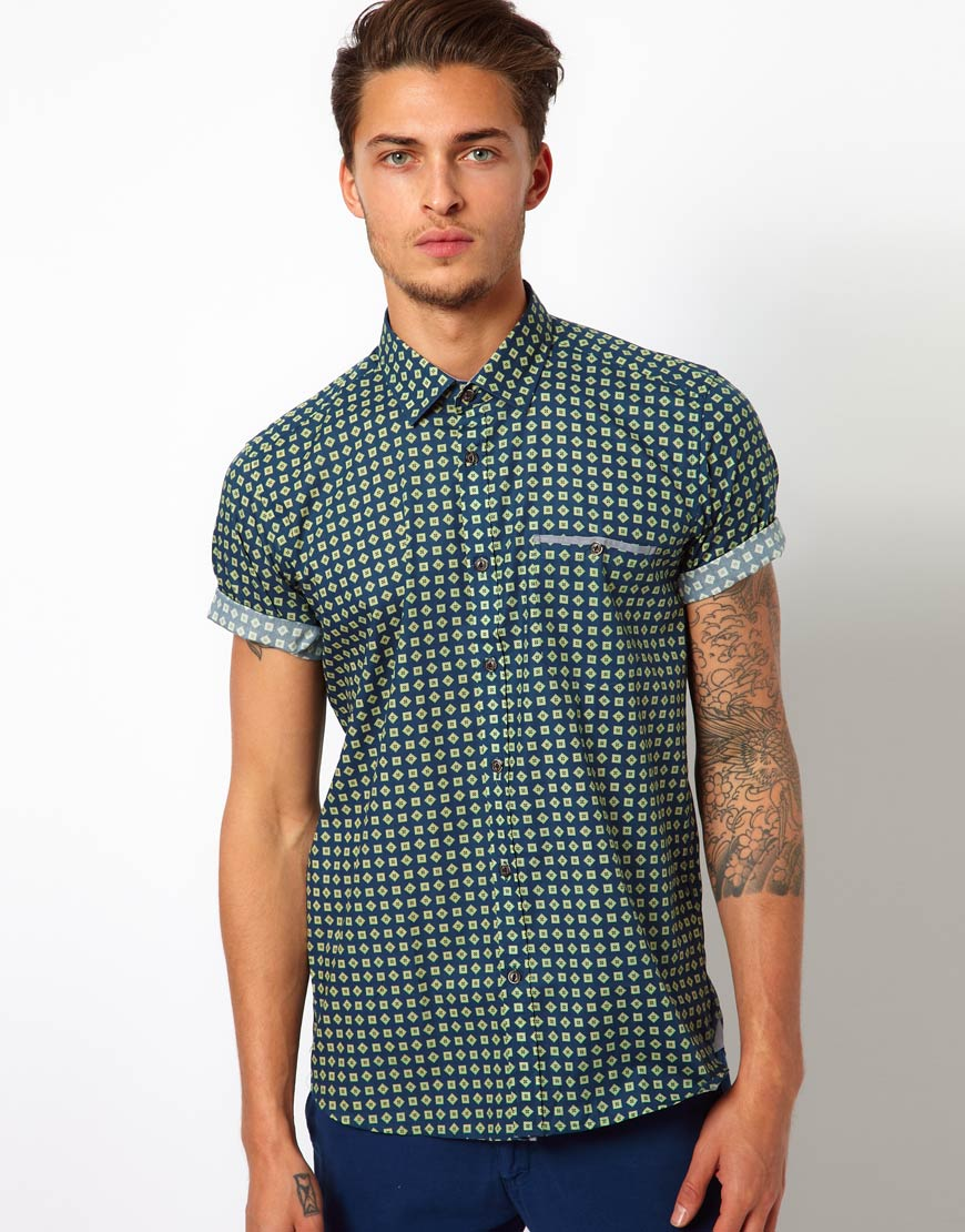 6b59cce7 Libertine-Libertine Ted Baker Printed Shirt in Green for Men - Lyst