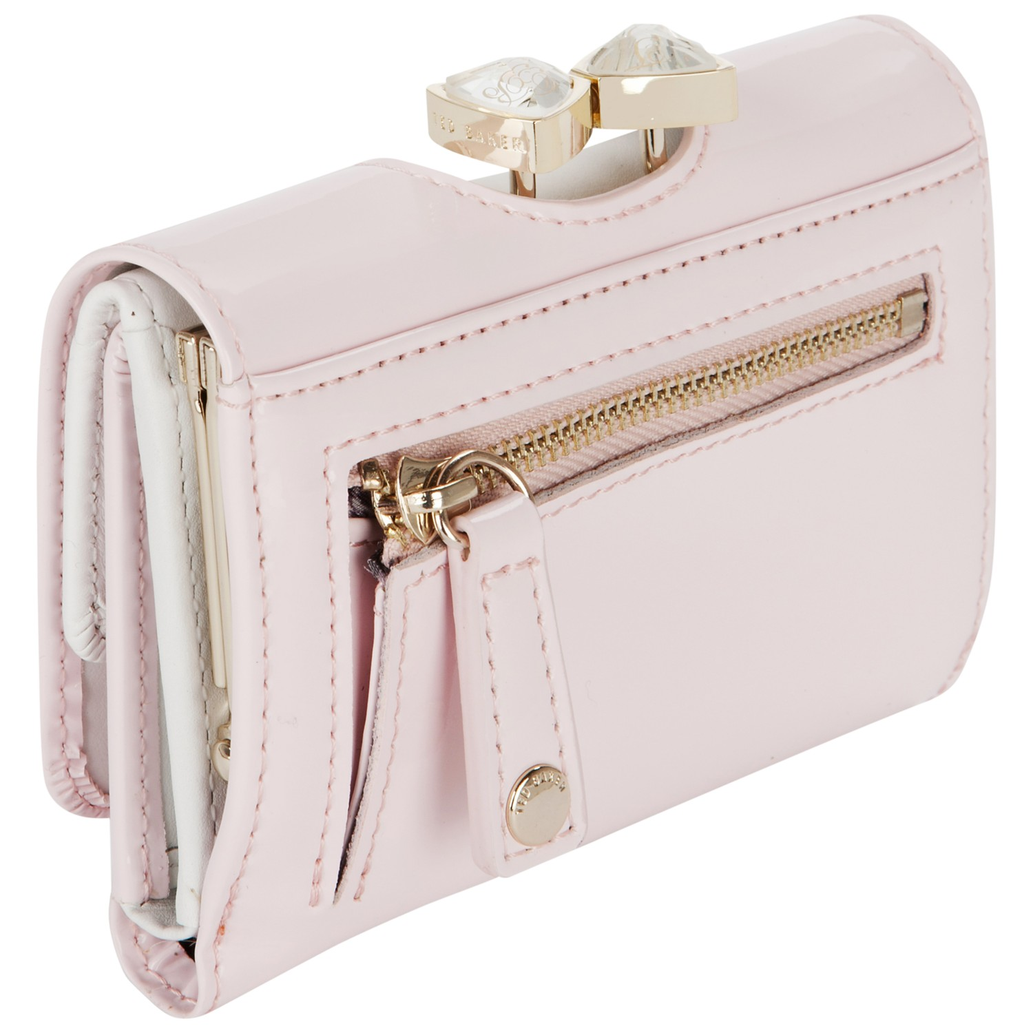 da23c5591 Ted Baker Tyro Crystal Bow Bobble Patent Small Purse in Pink - Lyst
