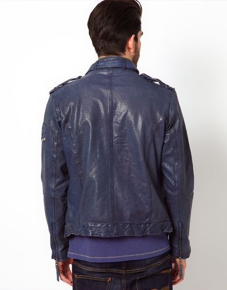 true religion leather jacket in blue for men lyst. Black Bedroom Furniture Sets. Home Design Ideas