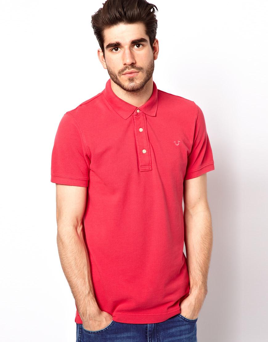 true religion polo shirt horeshoe logo in red for men lyst
