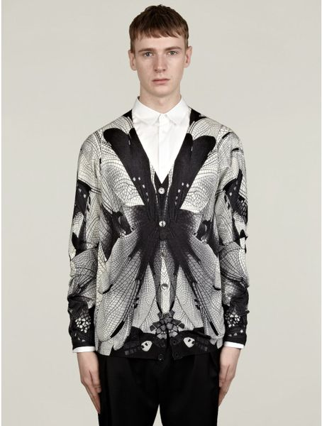 Alexander Mcqueen Mens Dragon Fly Print Cardigan in Black ...