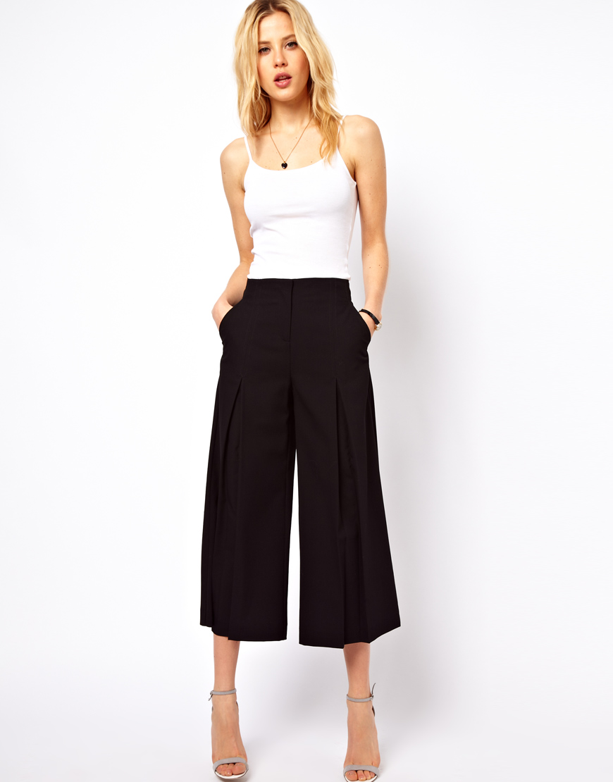 Lyst Asos Collection Culottes With Pleat Front In Black