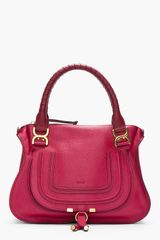 Chloé Medium Peony Red Leather Marcie Shoulder Bag - Lyst