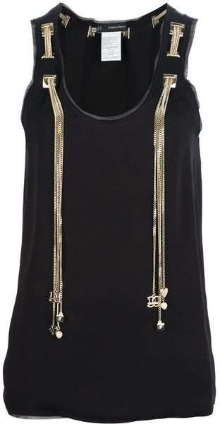 DSquared2 Chain Detail Tank Top - Lyst