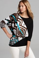 Lafayette 148 New York Dolman Sleeve Intarsia Sweater - Lyst