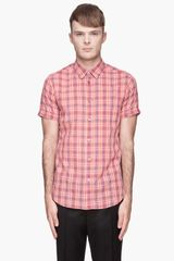 Marc By Marc Jacobs Coral Red and Blue Dustin Plaid Shirt - Lyst