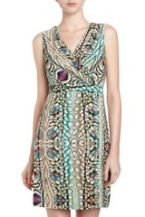 Marc New York By Andrew Marc Peacock Print Faux Wrap Dress - Lyst