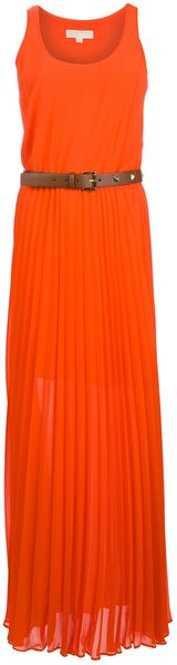 Michael by Michael Kors Pleated Maxi Dress - Lyst