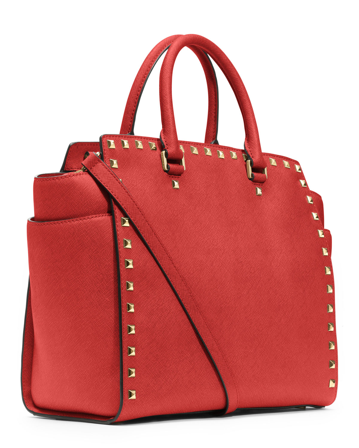 c7a974ba221f Michael Kors Large Selma Studded Saffiano Tote in Red - Lyst