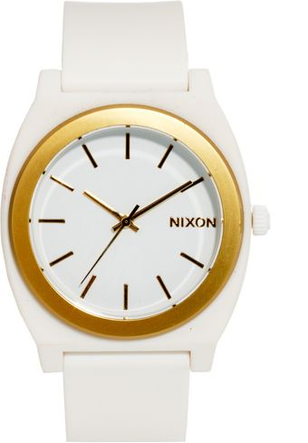 Nixon Time Teller P White Gold Watch - Lyst