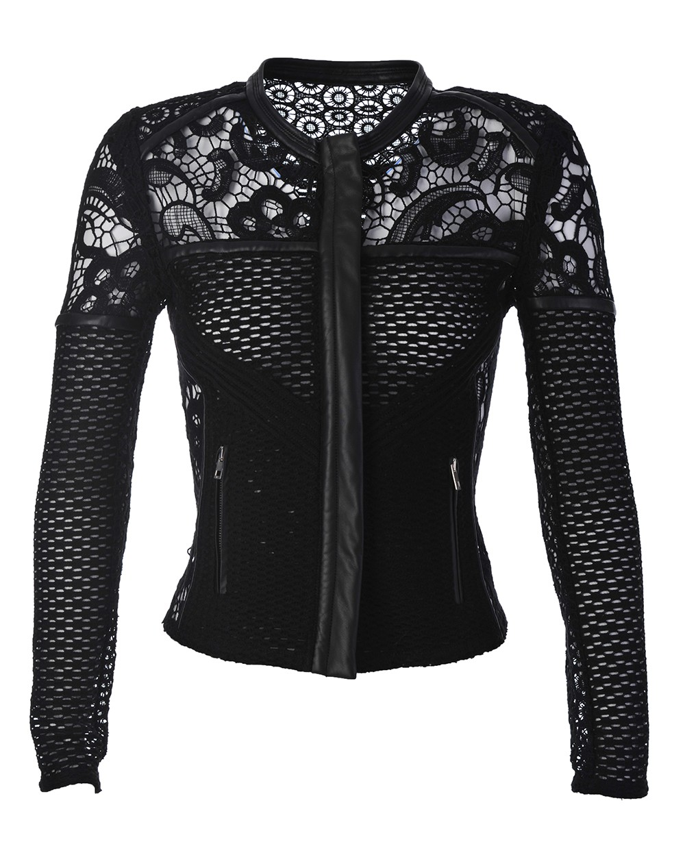 Iro Lewis Lace And Leather Jacket Black In Black Lyst