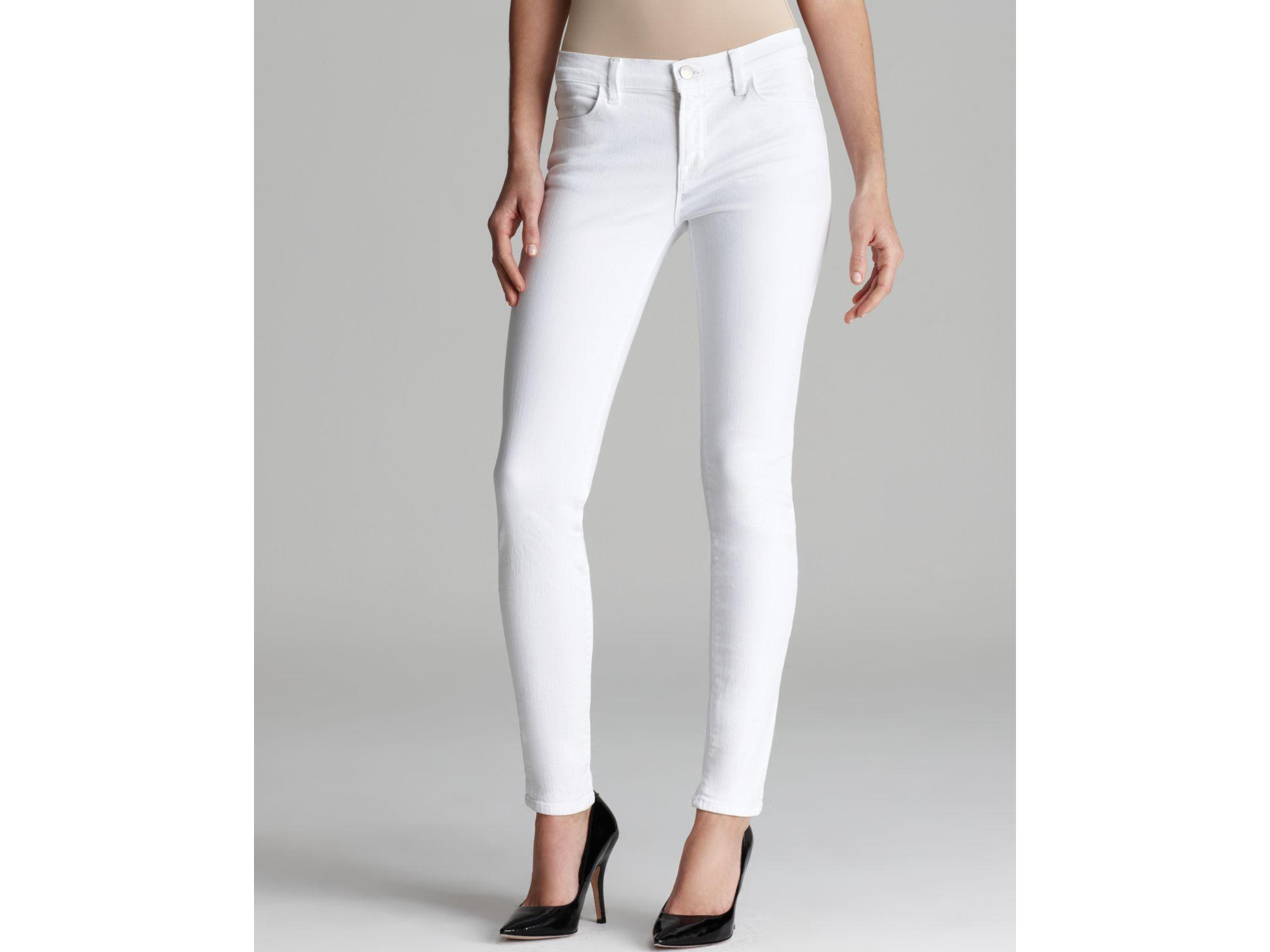 J brand Jeans Mid Rise 620 Super Skinny Eyelet Leg in White in ...