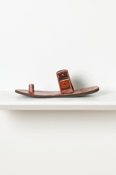anthropologie beaded toe loop sandals in multicolor multi