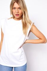ASOS Collection Asos Clean Tshirt with Padded Roll Sleeve - Lyst