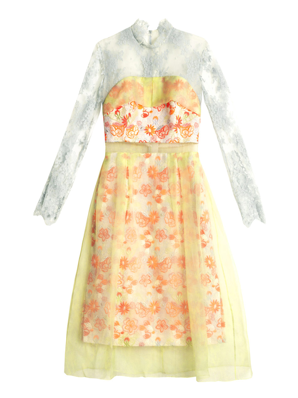 Lyst Erdem Leticia Embroidered Organza Overlay Dress In