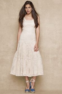 Ralph Lauren Blue Label Dropwaist Lace Dress - Lyst