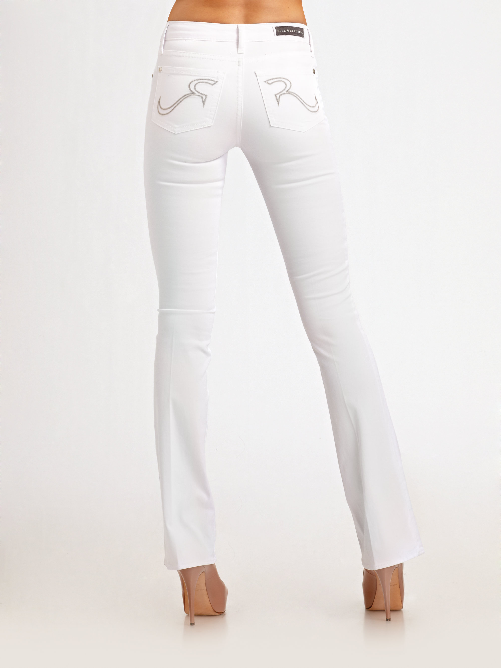Rock & republic Noelle Bootcut Jeans in White | Lyst