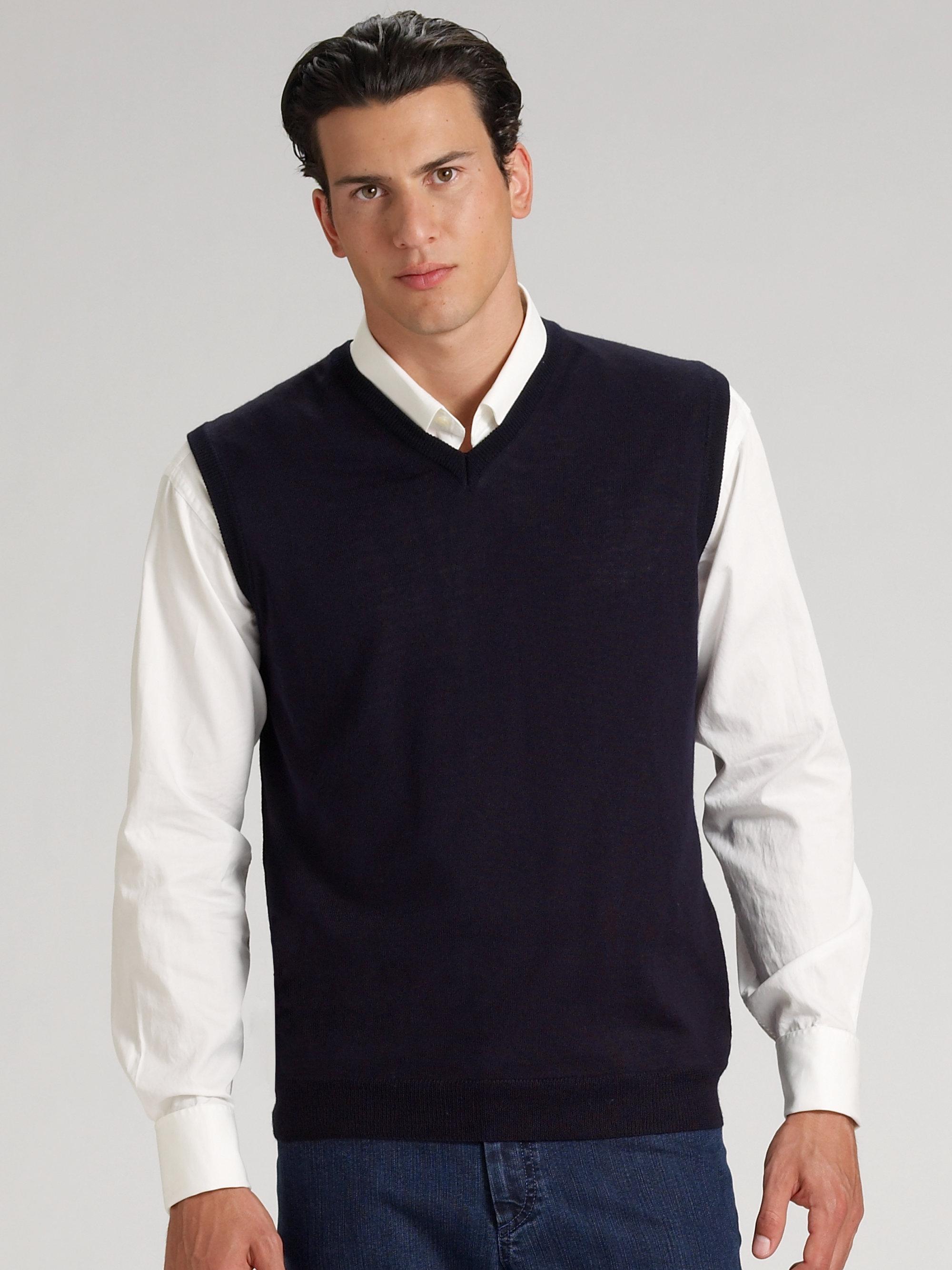 Saks fifth avenue Vneck Merino Sweater Vest in Black for Men | Lyst
