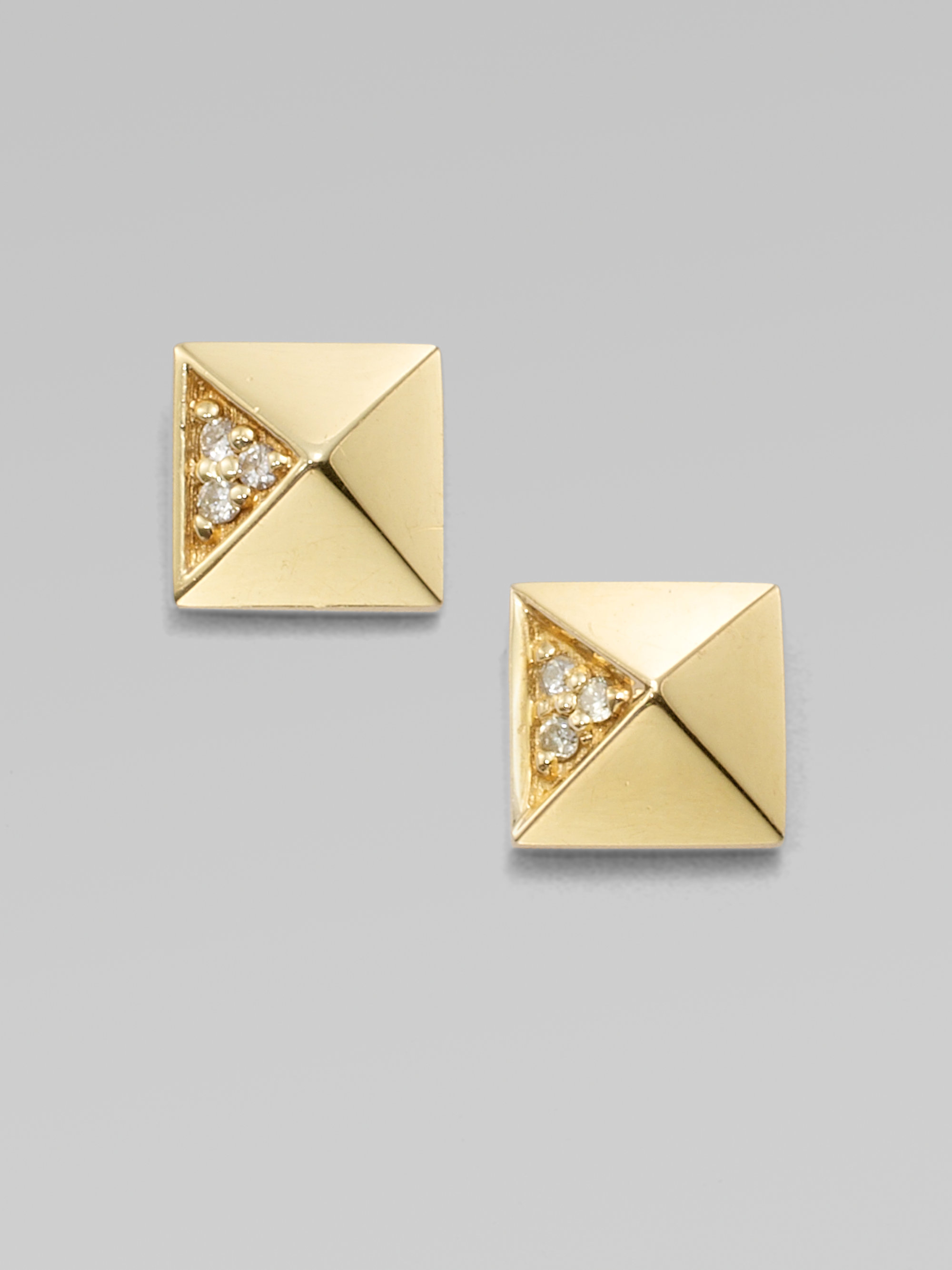 triangle earrings jewelers products stud collection gold pyramid af yellow