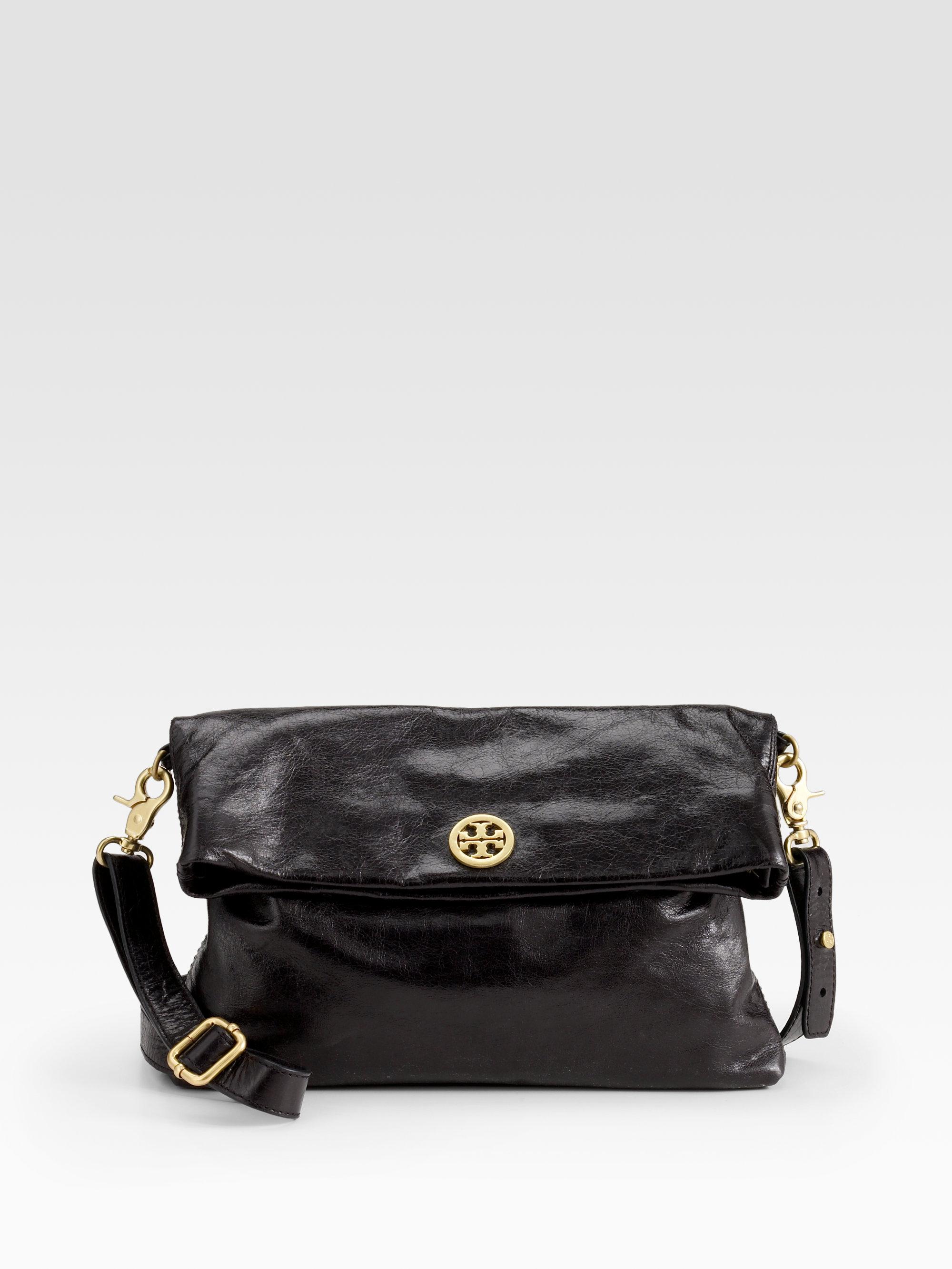 f12f5fbcd171 Lyst - Tory Burch Dena Messenger Leather Bag in Black