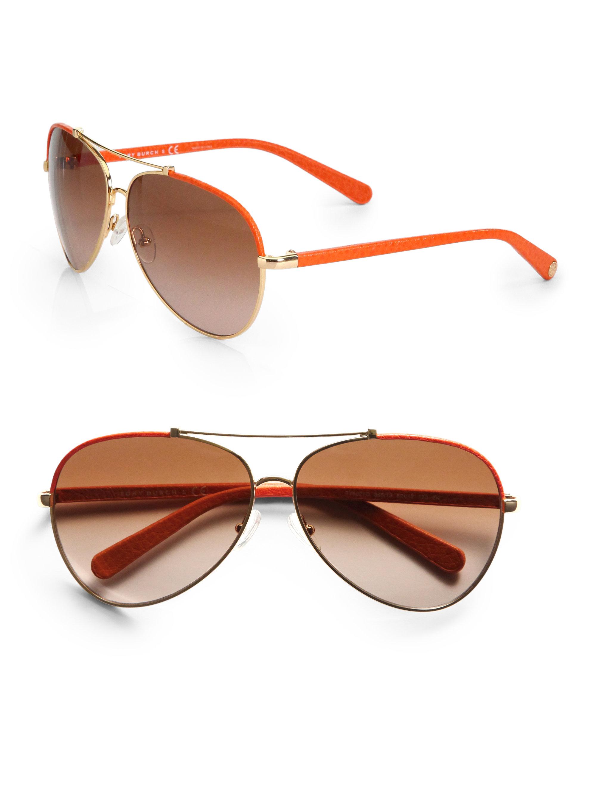 Tory Burch C Aviator Sunglasses In Orange Lyst