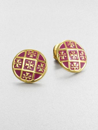 Tory Burch Enamel Logo Pattern Stud Earrings - Lyst