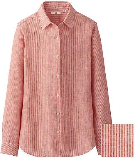 Uniqlo premium linen stripe long sleeve shirt in orange lyst for Uniqlo premium t shirt