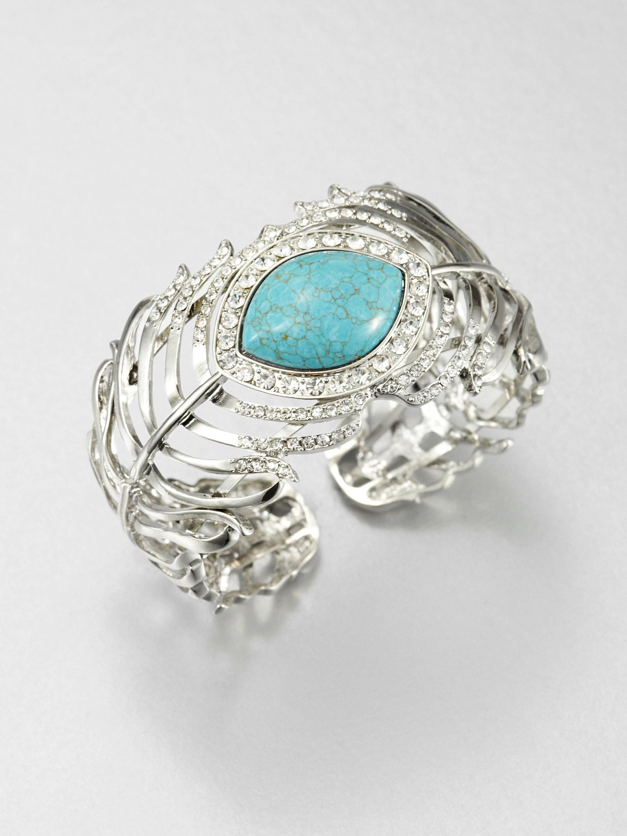 abs by allen schwartz feather cuff bracelet in blue