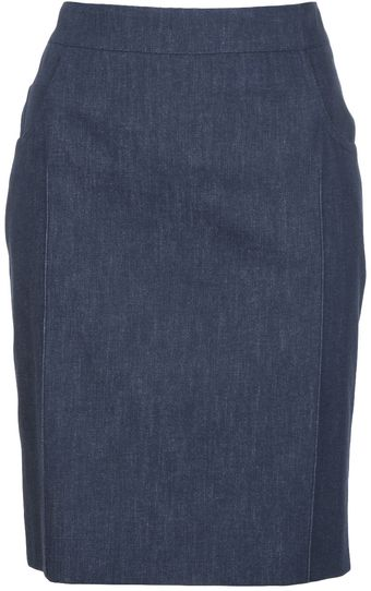 Akris Denim Pencil Skirt - Lyst