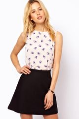 ASOS Collection Sleeveless Top with Cutout Bow Back in Bird Print - Lyst