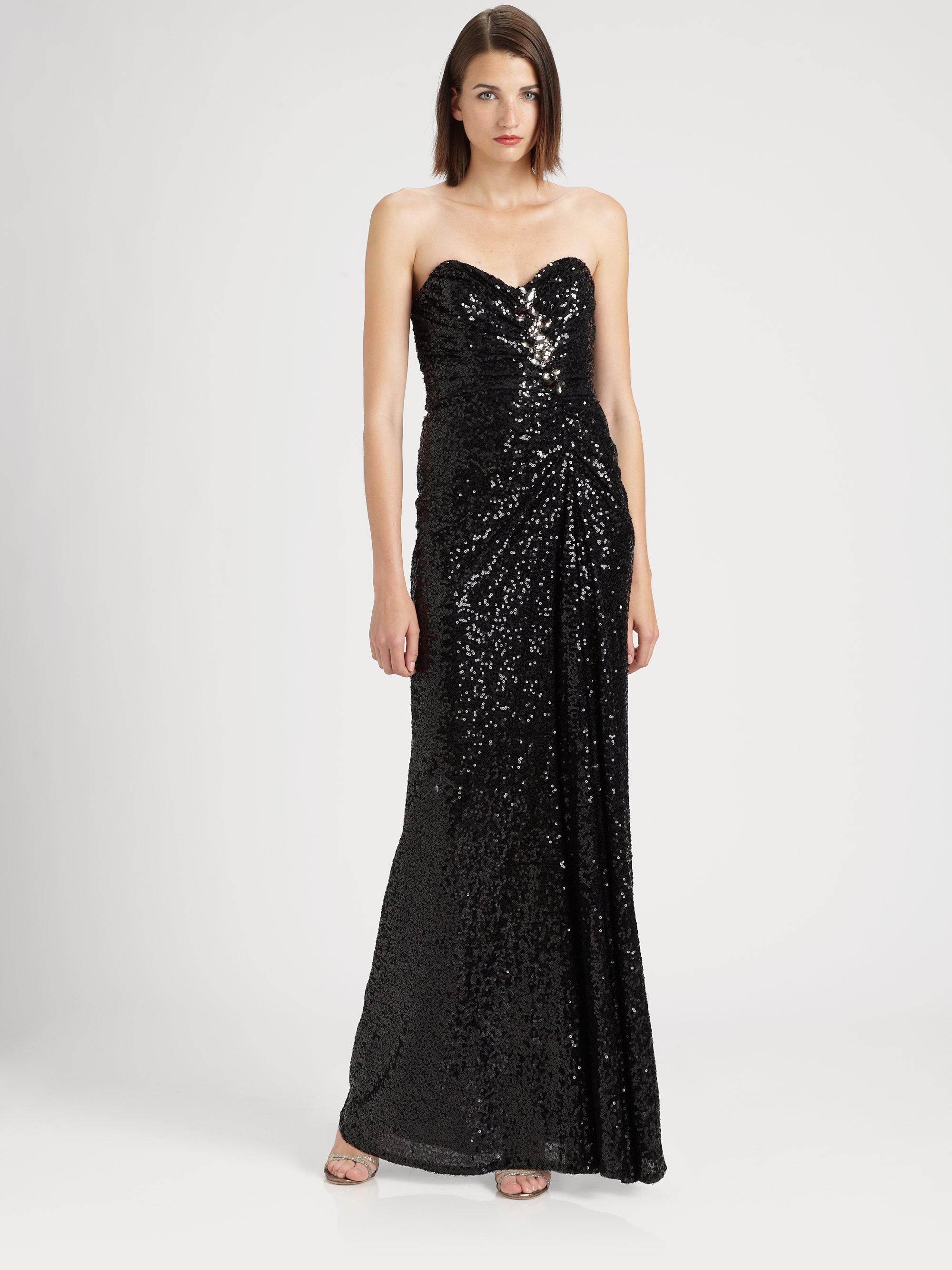 Lyst - Badgley Mischka Strapless Sequined Gown in Black