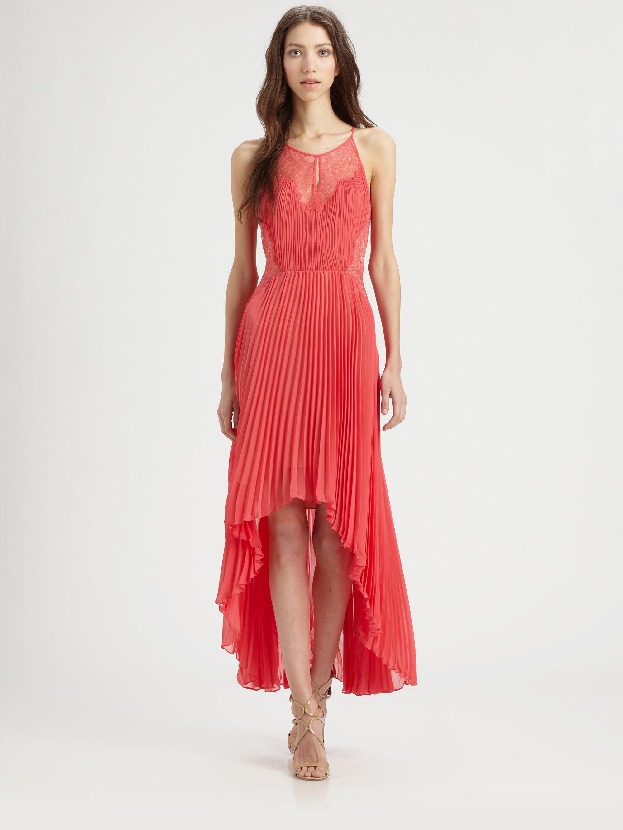 Lyst Bcbgmaxazria Accordion Pleat Lace Dress In Red