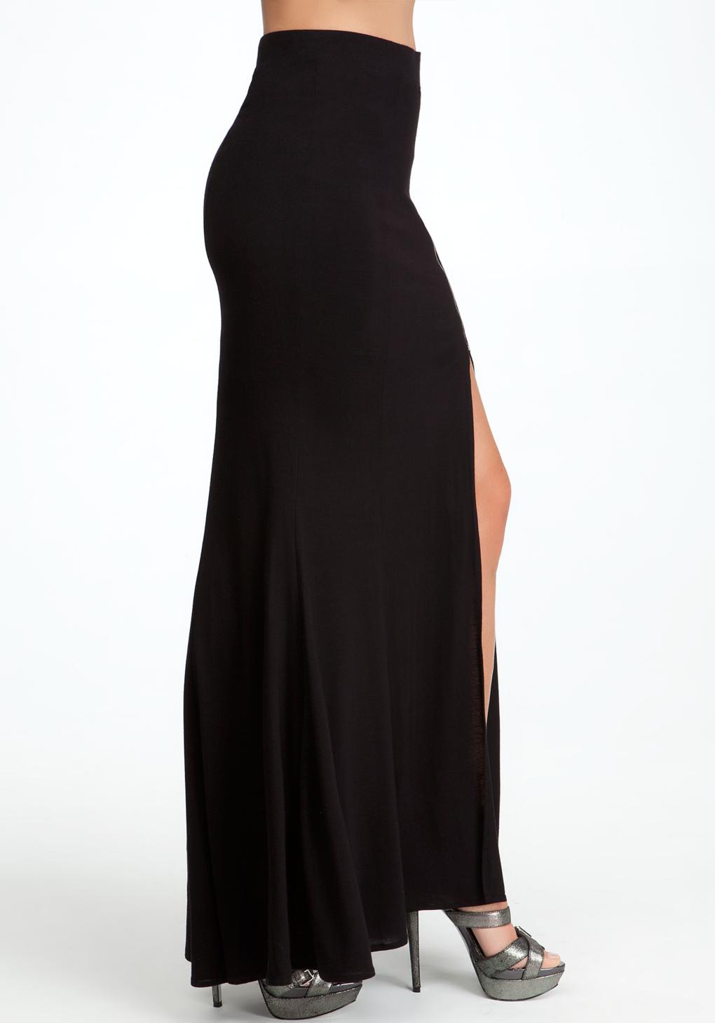 bebe zipper slit maxi skirt in black lyst