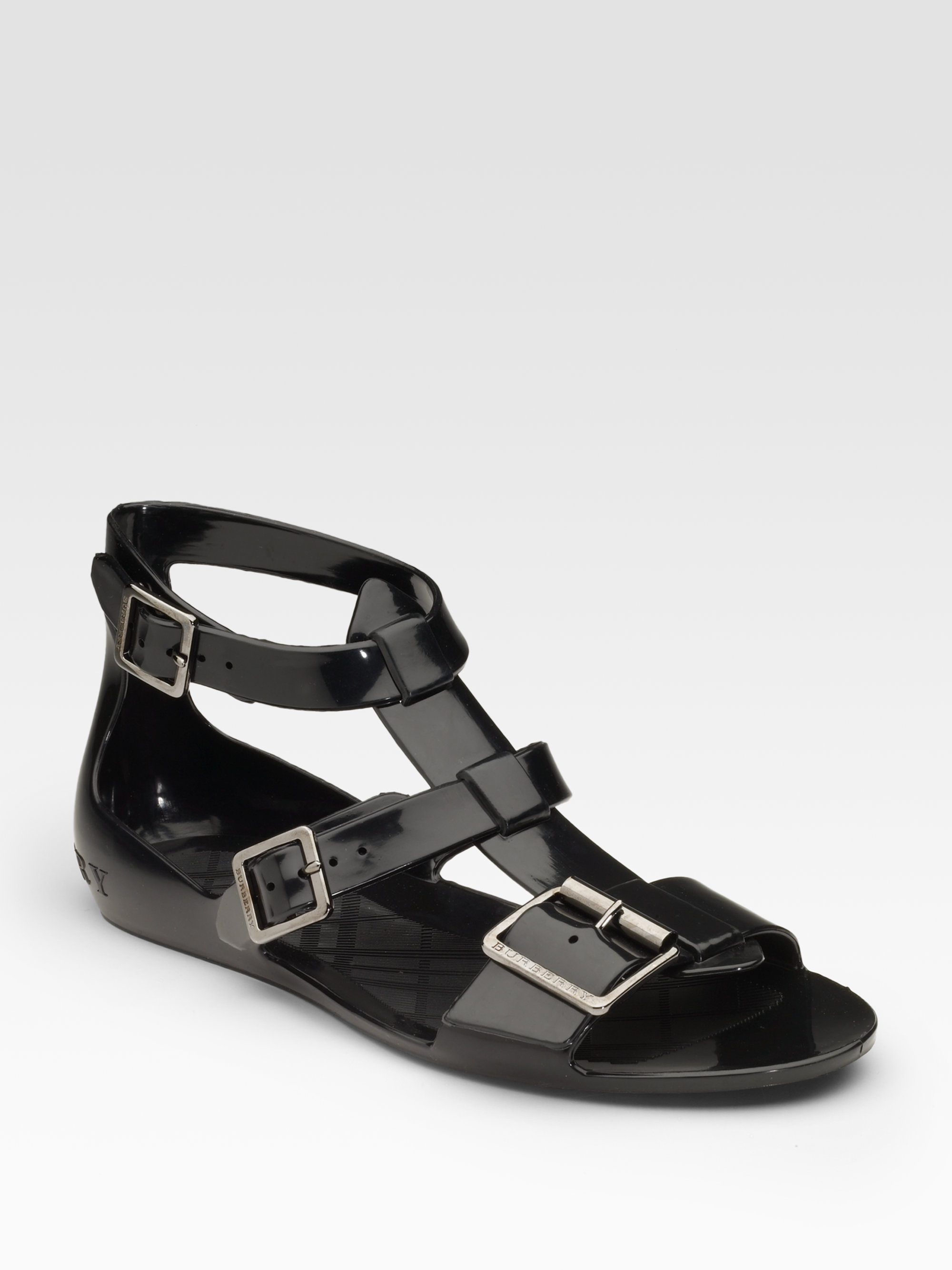 Lyst Burberry Jelly Flat Sandals In Black