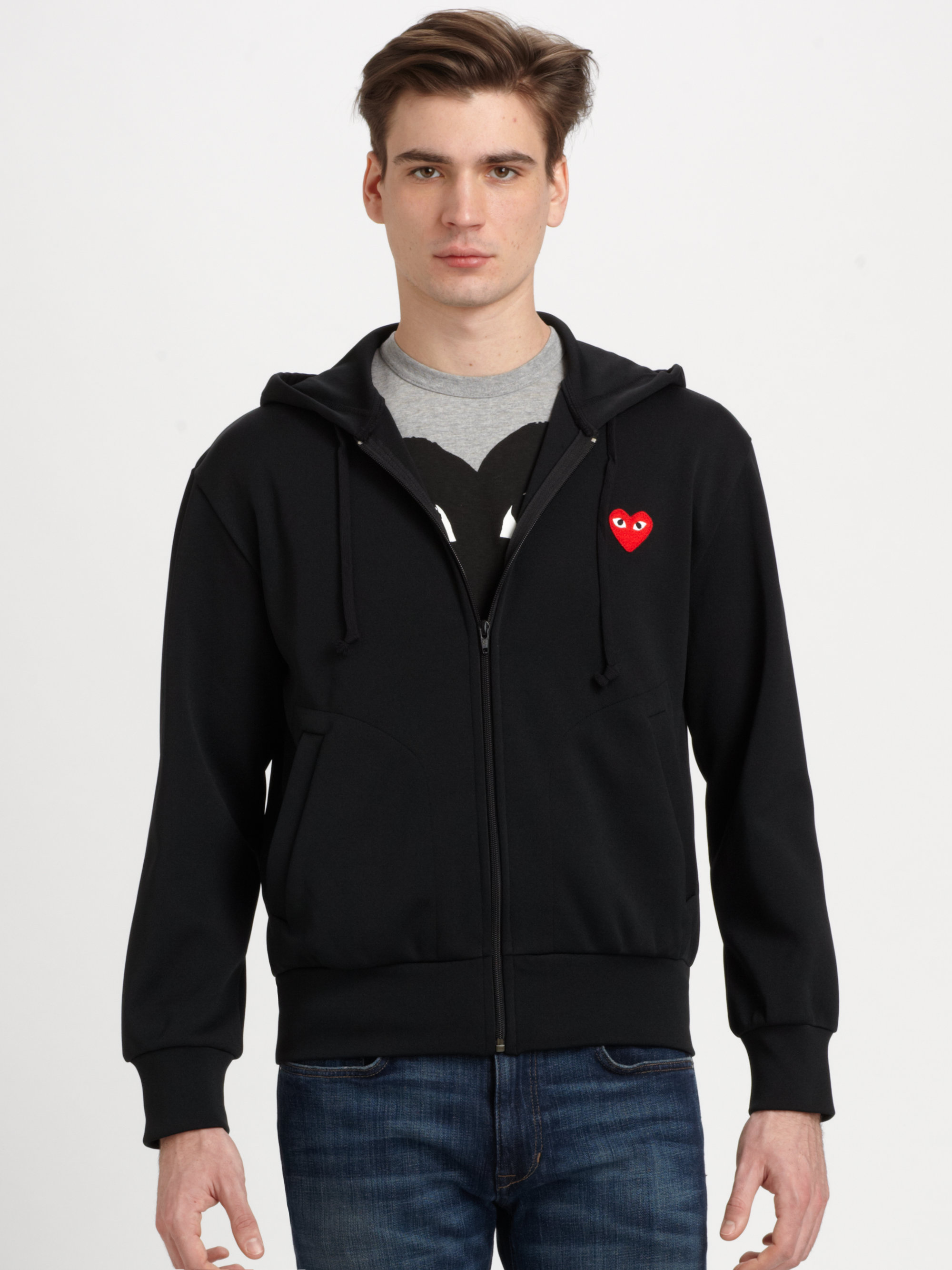 lyst play comme des gar ons zip up cotton hoodie in. Black Bedroom Furniture Sets. Home Design Ideas