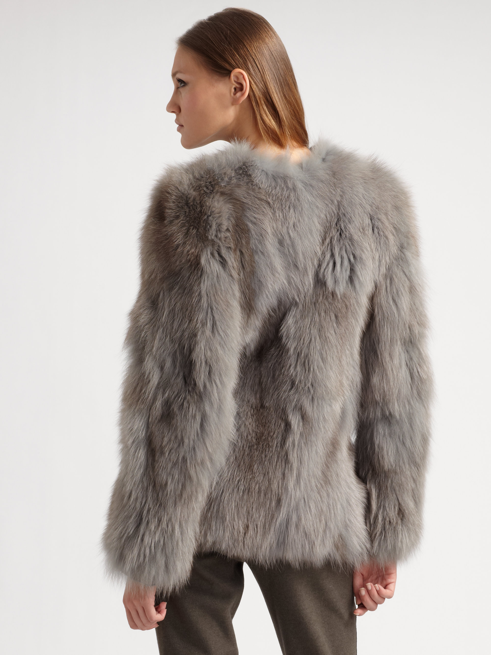 Costume national Fox Fur Coat in Gray | Lyst