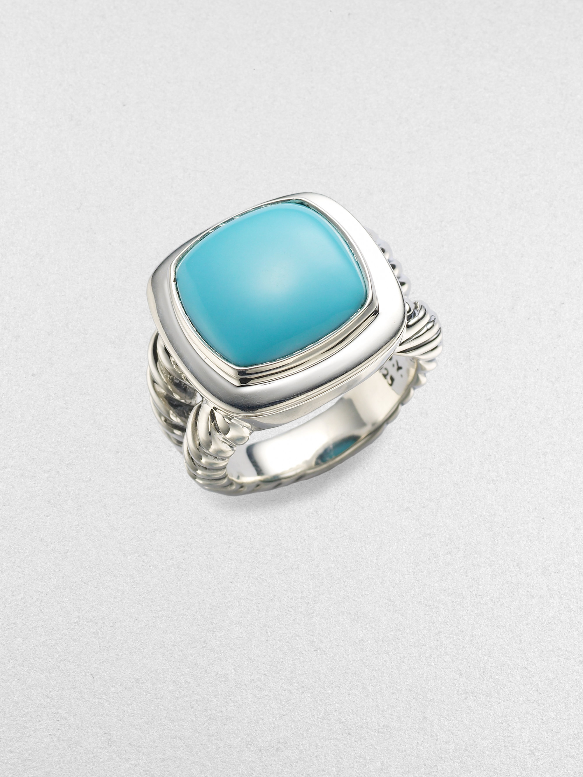 David Yurman Turquoise Sterling Silver Ring In Blue