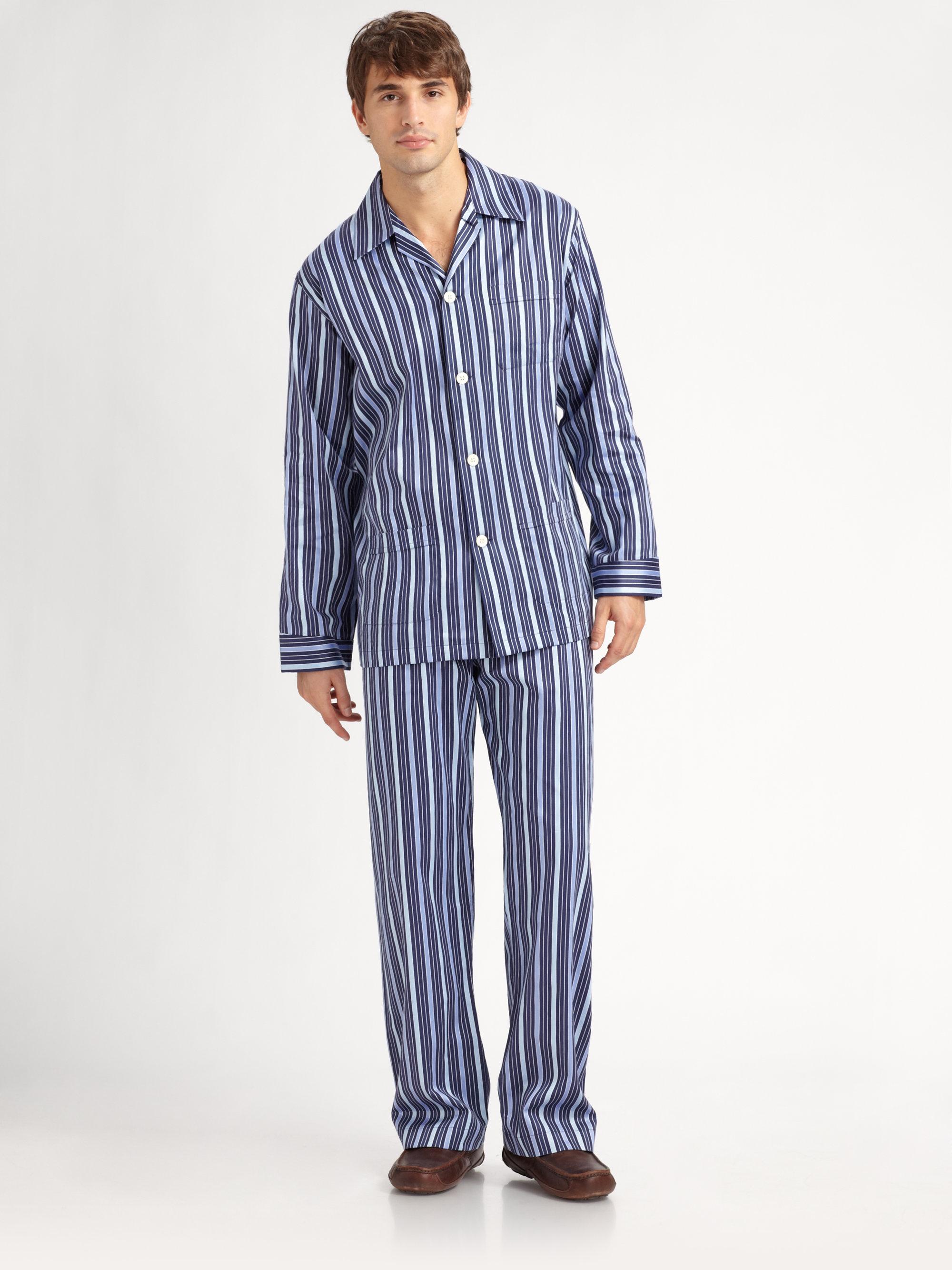 Lyst - Derek Rose Royal Striped Pajamas Set in Blue for Men