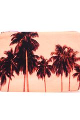 Dezso Flamingo Palms Cotton Canvas Pouch Clutch - Lyst