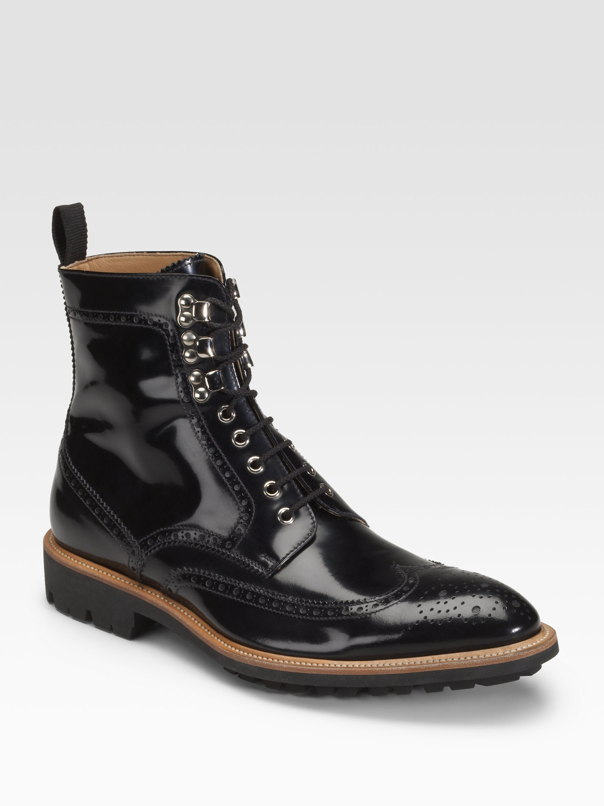 d g wingtip boots in black for lyst