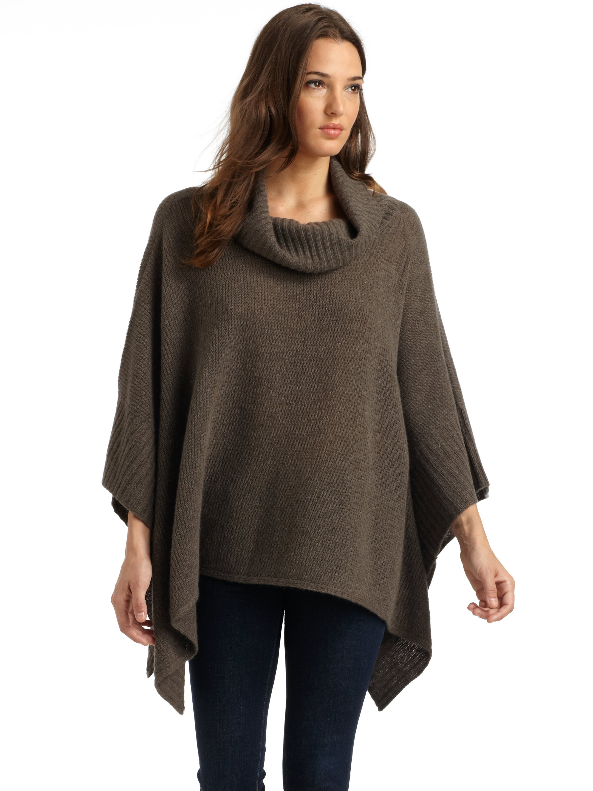 Eileen fisher Wool Cashmere Knit Poncho Sweater in Brown | Lyst