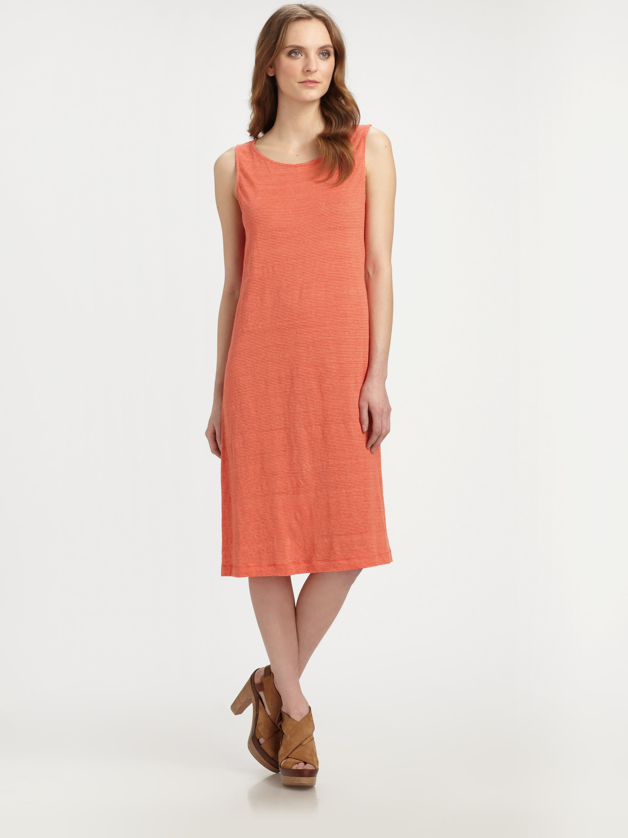 ac0086fd251 Lyst - Eileen Fisher Striped Linen Tank Dress in Orange