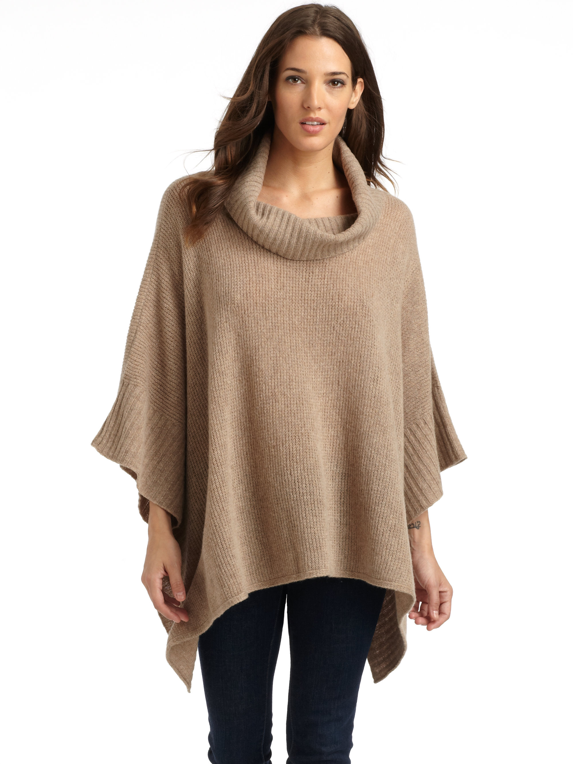 Knitting Pattern Poncho Sweater : Eileen fisher Wool Cashmere Knit Poncho Sweater in Natural Lyst