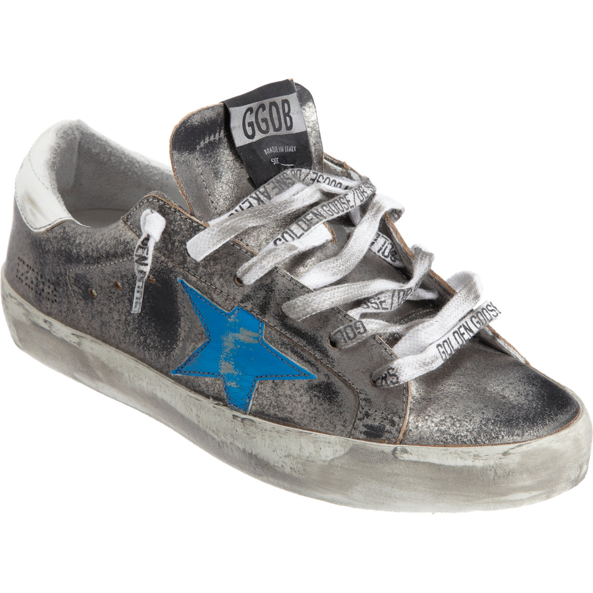 golden goose deluxe brand superstar sneaker in silver lyst