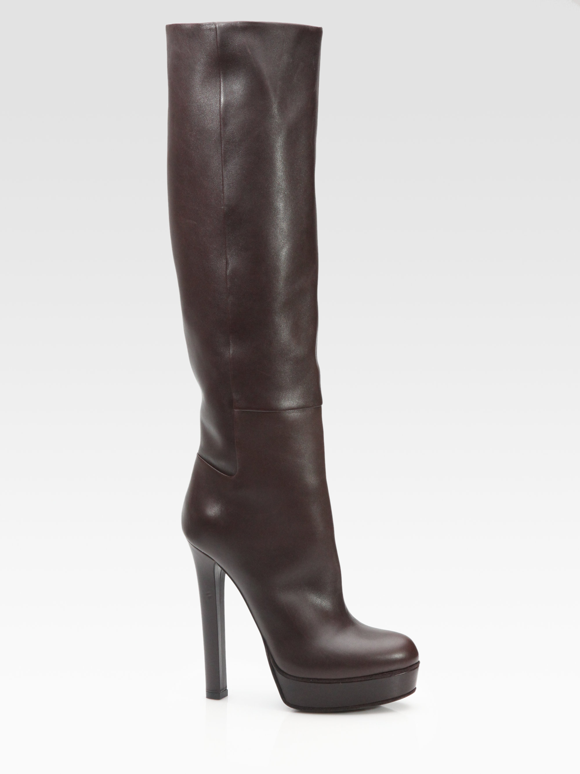 2fdd8472602c Lyst - Gucci Alexa Leather Knee-High Platform Boots in Brown