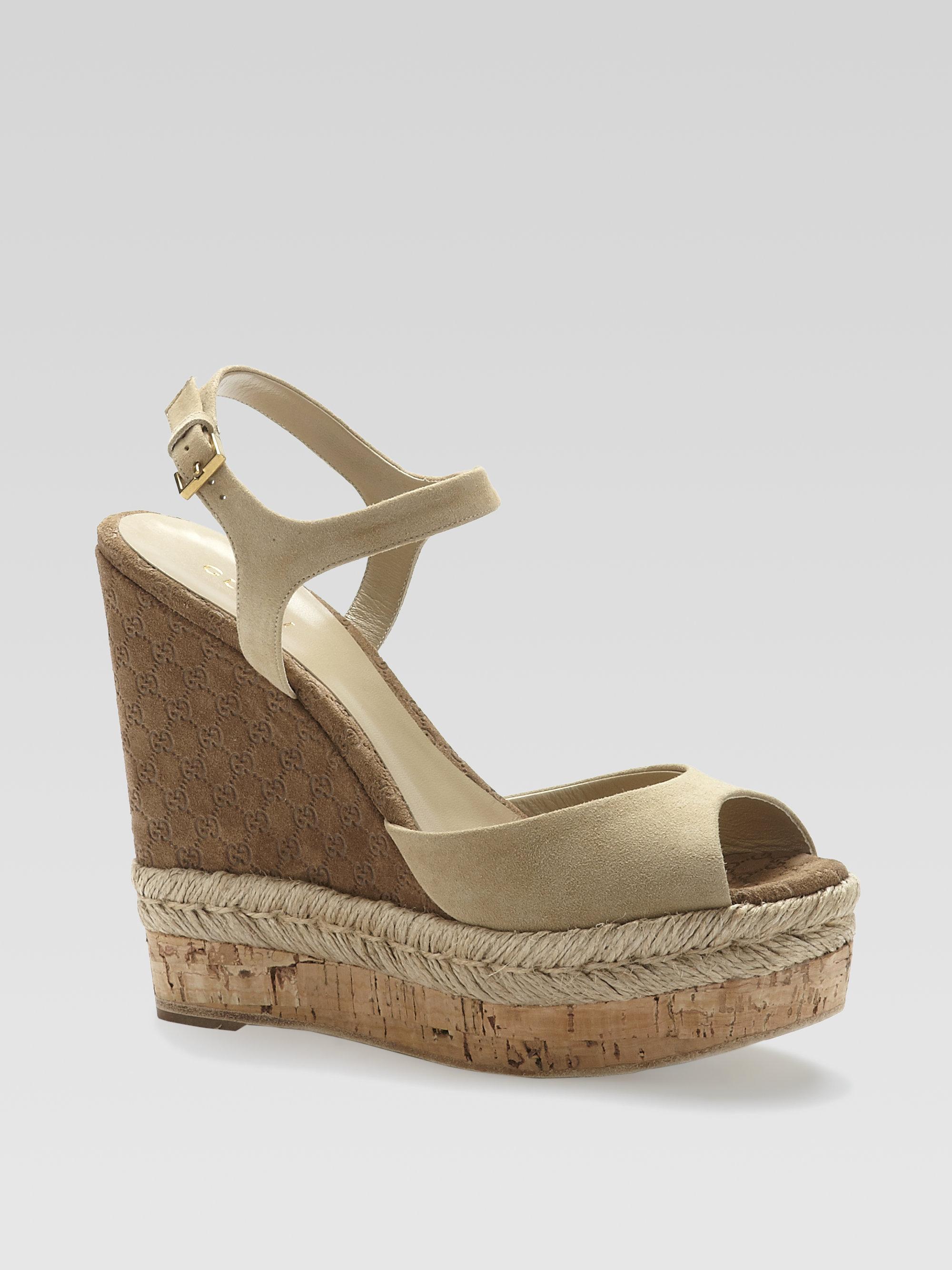 Gucci Velvet wedge sandals qsmOX