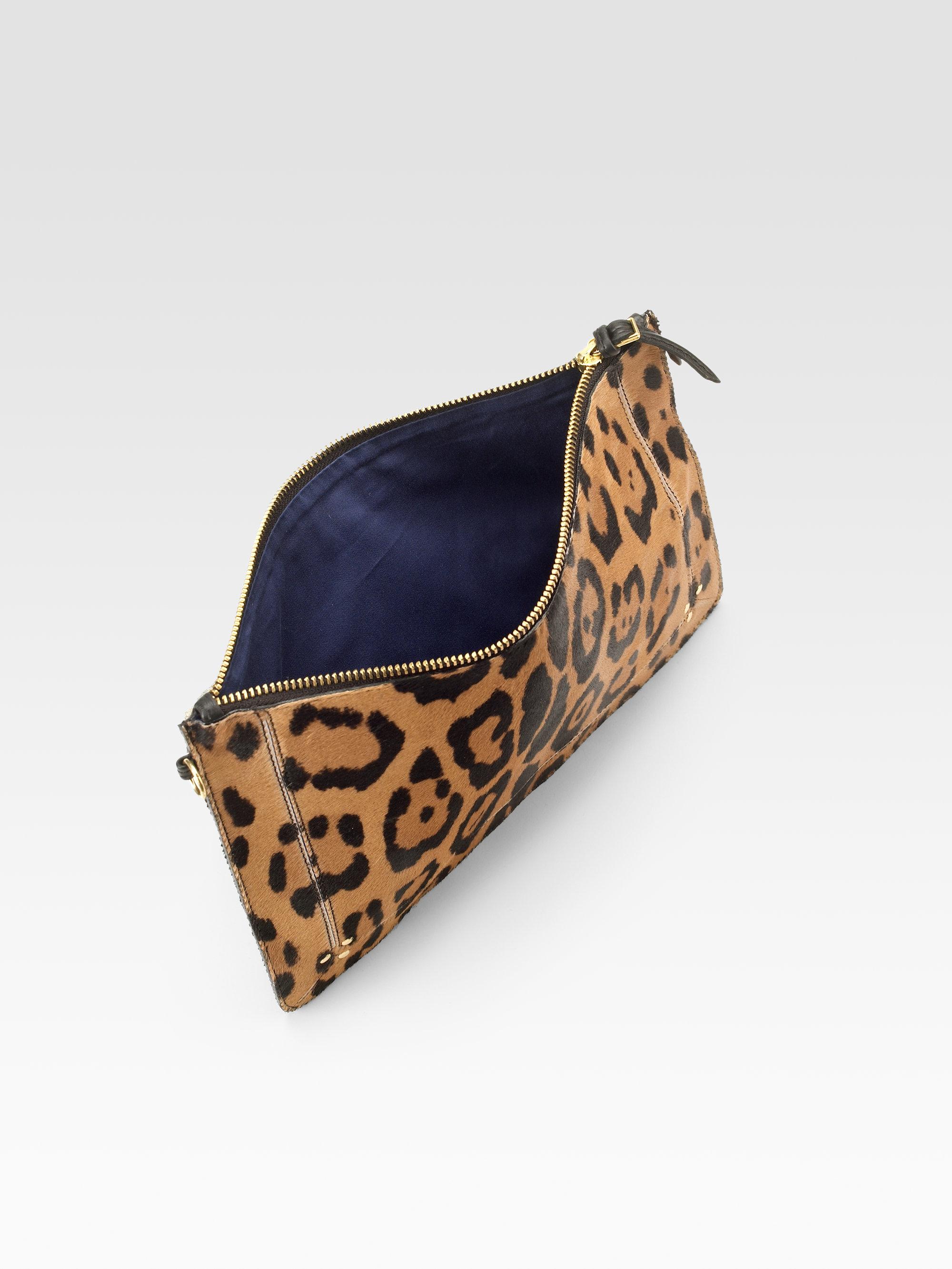db077f6de944 Jérôme Dreyfuss Popoche Large Leopard-Print Calf Hair Clutch in ...