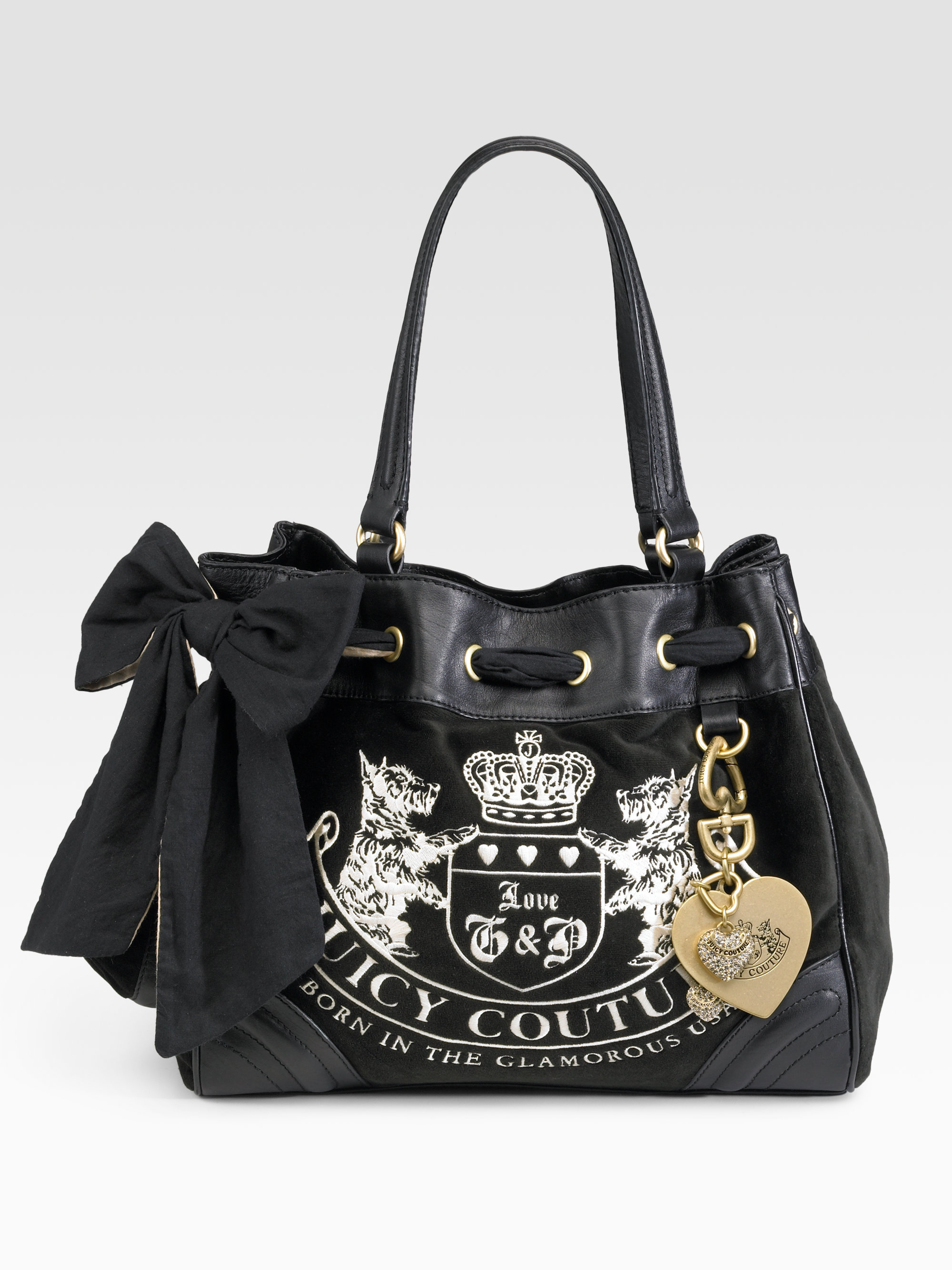 Juicy couture Velour Heritage Crest Dreamer Bag in Black ...