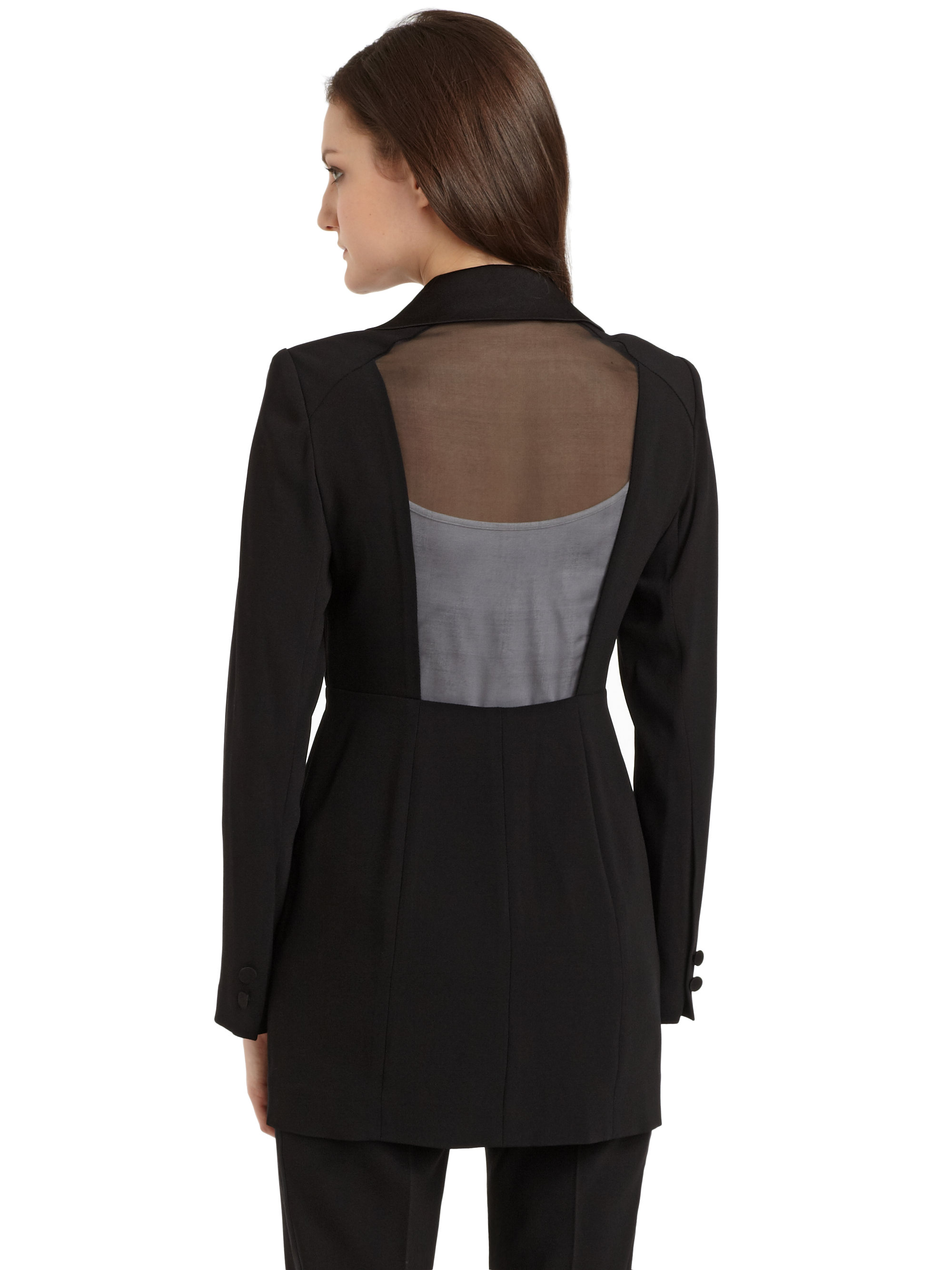 Lyst Kay Unger Sheer Back Pleated Blazer In Black